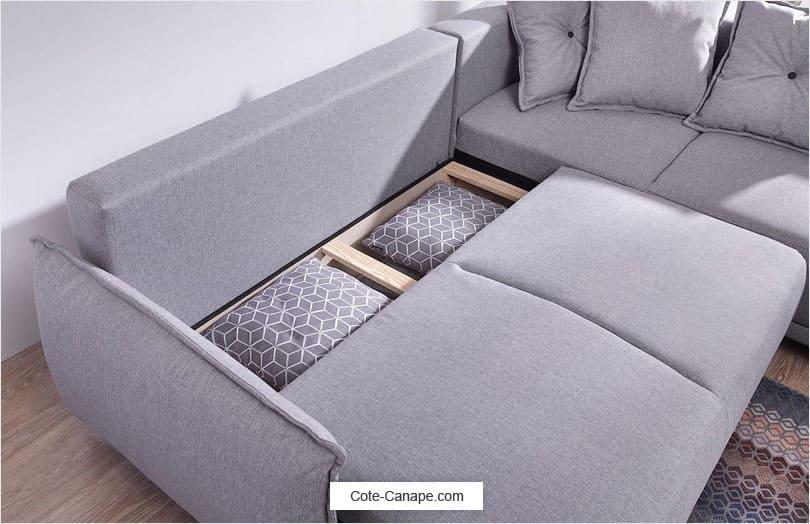 Canapé angle convertible LENA de bobochic avec coffre rangement